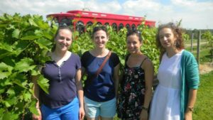 Four lab members on a trip standing in a wineyard