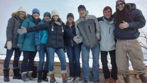Lab members doing a walk on the frozen Mendota lake