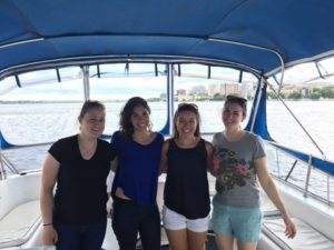 Lab members on a boat trip